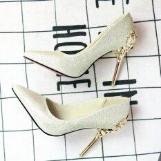 ขาย Leyi Ladies Fashion Of Carve Patterns Or Designs On Woodwork Suede High Heels Gold Intl Unbranded Generic ใน จีน
