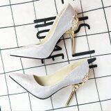 Leyi Ladies Fashion Of Carve Patterns Or Designs On Woodwork Suede High Heels Silver Intl เป็นต้นฉบับ