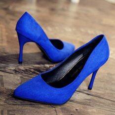 ราคา Leyi Low For Suede Shallow Pointed Mouth Pure Color High Heels Lake Blue Intl Unbranded Generic ออนไลน์