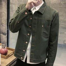 Leyi Men S Fashion Cowboy Coat Of Cultivate One S Morality Army Green Intl ใน จีน