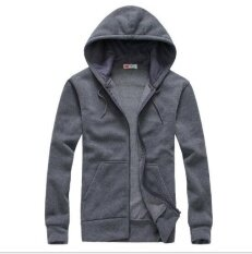 ซื้อ Leyi Men S Fashion Leisure Sport Hoodie Breathable Solid Cardigan Grey Intl Leyi เป็นต้นฉบับ