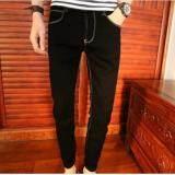 ราคา Leyi Men S Jeans Haren Pants Feet Black Intl Unbranded Generic ใหม่