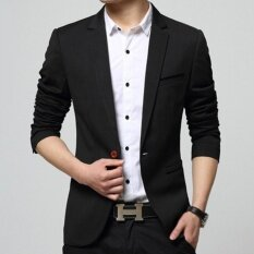 Leyi Men S Korean Youth Small Suit Coat Of Cultivate One S Morality Black Intl จีน