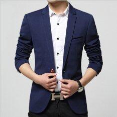 โปรโมชั่น Leyi Men S Korean Youth Small Suit Coat Of Cultivate One S Morality Navy Blue Intl ถูก