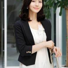 ขาย Leyi Ms Han Edition Cultivate One S Morality Seven Coat Sleeve Short Paragraph Small Suit Black Intl ถูก