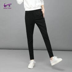 ราคา Likener Trend สูงยางไม้ธรรมดากางเกงฮาเร็มน้อยเต็มตัว สีดำ ใน Thailand
