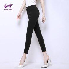 ซื้อ Likener Trend ผู้หญิงบางกางเกงขายาวความยาวกางเกง สีดำ ถูก