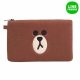 ราคา Line Friends Squared Character Pouch Brown Face Intl เป็นต้นฉบับ