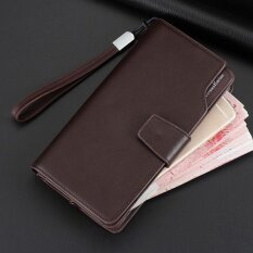 ทบทวน Long Men Wallet Leather Hand Bag Credit Card Coin Holders With Hand Strap Brown Intl
