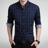 ราคา Long Sleeve Men Plaid Slim Cotton Shirts Male Business Summer Casual Shirt Intl จีน