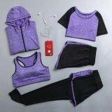 ราคา Long Sleeve Zipper Hooded Fitness Yoga T Shirt Running Jacket Sport Jerseys Jogging Suit Women Sportswear Five Piece Purple Intl Unbranded Generic เป็นต้นฉบับ