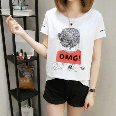 ซื้อ เสื้อเกาหลีเสื้อยืดหญิงใหม่หลวม สีขาว ออนไลน์