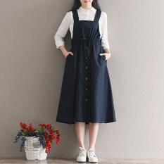 ราคา ชุดผ้าฝ้ายวรรณกรรมนักเรียนกระโปรงวิทยาลัยลมหญิงฤดูใบไม้ผลิ น้ำเงิน ใน ฮ่องกง