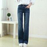 ส่วนลด กางเกงยีนส์ฤดูใบไม้ร่วงหลวมกางเกงขายาวสีเข้มเพศหญิง สีน้ำเงินเข้ม