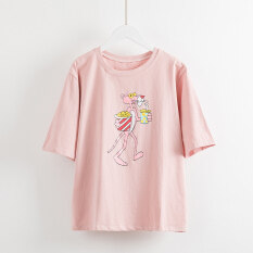 ซื้อ เสื้อเกาหลีเสื้อยืดฤดูร้อนใหม่หลวม สีชมพู ใหม่ล่าสุด
