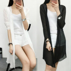 ขาย หลวมเสื้อชีฟองป้องกันแสงแดดเสื้อผ้าหญิงส่วนยาวผ้าคลุมไหล่ สีดำ