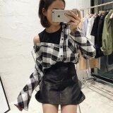 ซื้อ เสื้อเกาหลีฤดูใบไม้ผลิใหม่หลวม สีดำและสีขาวตาราง ฮ่องกง