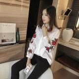 ส่วนลด หลวมหญิงเกาหลีแขนยาวฤดูใบไม้ผลิและฤดูใบไม้ร่วงลำลองเสื้อเชิ้ตลายเสื้อ สีขาว