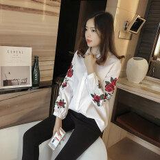ราคา หลวมหญิงเกาหลีแขนยาวฤดูใบไม้ผลิและฤดูใบไม้ร่วงลำลองเสื้อเชิ้ตลายเสื้อ สีขาว ราคาถูกที่สุด