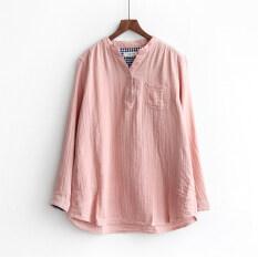 ราคา หลวมวรรณกรรมฝ้ายฤดูร้อนหลาใหญ่กระเป๋าเสื้อ สีชมพูแขนยาว สีชมพูแขนยาว เป็นต้นฉบับ