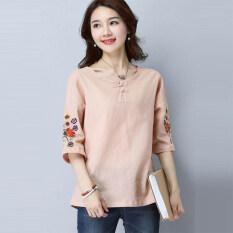 เสื้อยืดผ้าฝ้ายเสื้อย้อนยุคผ้าลินินเพศหญิง สีชมพู ใหม่ล่าสุด