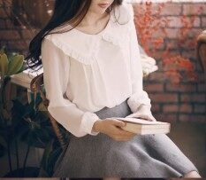 ส่วนลด เสื้อเชิ้ตสีขาวหวานฤดูใบไม้ผลิรุ่นเสื้อชีฟองเกาหลี สีขาว