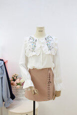 ซื้อ เสื้อเกาหลีเสื้อปักหญิงแขนยาว สีขาว Unbranded Generic ออนไลน์