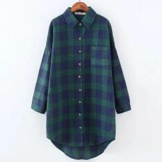 ซื้อ Looesn เกาหลีใหม่ยาววรรคแขนยาวลายสก๊อตเสื้อ สีเขียว ฮ่องกง