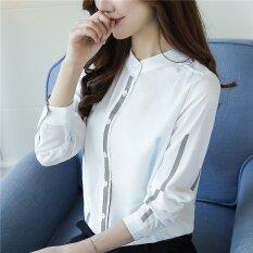 ขาย หลวมใหม่ของผู้หญิงเสื้อเชิ้ตสีขาว สีน้ำเงินเข้ม ราคาถูกที่สุด