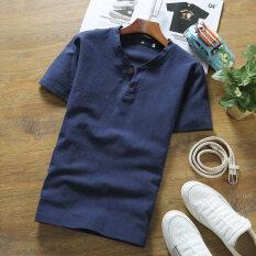 ขาย เสื้อยืดเวอร์ชั่นเกาหลีผ้าลินินฤดูร้อน V คอ น้ำเงิน ฮ่องกง