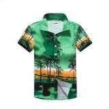 ซื้อ เสื้อเชิ้ตผู้ชาย ลายดอกไม้สำหรับใส่ท่องเที่ยวฤดูร้อน 30 ทะเลปาล์มสีเขียว 30 ทะเลปาล์มสีเขียว