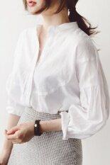 ราคา Looesn เกาหลีฤดูใบไม้ผลิและฤดูใบไม้ร่วงใหม่ยืนขึ้นปกเสื้อผ้าฝ้าย สีขาว ที่สุด
