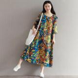 ขาย ชุดเดรสหญิง ผ้าคอตตอนลินินลายดอกไม้ สี สี ราคาถูกที่สุด