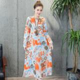 ส่วนลด หลวมย้อนยุคผ้าฝ้ายและผ้าลินินฤดูใบไม้ผลิ Pankou ส่วนยาวชุดเดรส สีส้ม