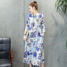 ราคา หลวมย้อนยุคผ้าฝ้ายและผ้าลินินฤดูใบไม้ผลิ Pankou ส่วนยาวชุดเดรส สีฟ้า ใหม่