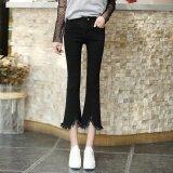 ส่วนลด Looesn เกาหลีหญิงบางบานกางเกงเสี้ยนยีนส์กางเกง 3355 สีดำ