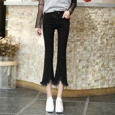 Looesn เกาหลีหญิงบางบานกางเกงเสี้ยนยีนส์กางเกง 3355 สีดำ ใหม่ล่าสุด