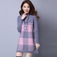 ซื้อ ถักเสื้อฤดูใบไม้ร่วงและฤดูหนาวใหม่หลวมไซส์พิเศษไซส์ใหญ่พิเศษ สีเทา ใหม่ล่าสุด