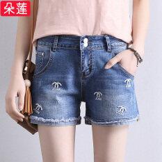 ซื้อ หลวมเอวสูงผ้ายีนส์กางเกงขาสั้น แสงสีฟ้า