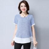 ส่วนลด Looesn เกาหลีผ้าฝ้ายฤดูร้อนสีเย็บเสื้อเสื้อยืด สีฟ้า Unbranded Generic ใน Thailand
