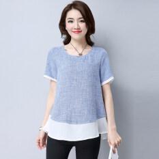 ราคา Looesn เกาหลีผ้าฝ้ายฤดูร้อนสีเย็บเสื้อเสื้อยืด สีฟ้า Unbranded Generic เป็นต้นฉบับ