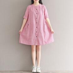 ซื้อ Looesn วรรณกรรมหญิงแขนสั้นลายส่วนยาวเสื้อกระโปรงฤดูร้อนเสื้อเชิ้ต สีรูปภาพ Other ถูก