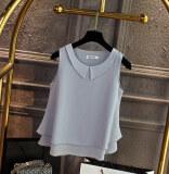 ขาย เสื้อกล้าม เสื้อแขนกุด ผ้าชีฟอง ขอบFalbala สีเทา สีเทา Unbranded Generic