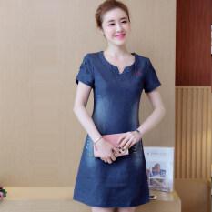 ซื้อ ชุดเดรสผู้หญิงผ้ายีนส์แขนสั้นทรงหลวมใส่สบาย ลายปัก ไซส์ใหญ่ สีฟ้า สีฟ้า ใน ฮ่องกง