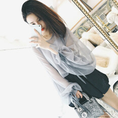 ขาย เสื้อผ้าชีฟอง สีทึบ ของผู้หญิง เสื้อแขนพอง สไตล์เกาหลี สีรูปภาพ สีรูปภาพ ออนไลน์