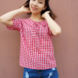 ราคา เสื้อเชิ้ตลายสก๊อตแขนสั้น Wawa ฉานวิทยาลัยผ้าฝ้าย แขนสั้น ตารางสีแดง ใน ฮ่องกง