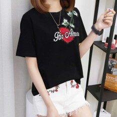 ขาย เสื้อผ้าฝ้ายเสื้อยืดผู้หญิงแขนสั้นคอกลมเสื้อยืดหลวม สีดำ Unbranded Generic เป็นต้นฉบับ