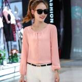 ซื้อ เสื้อเล็กๆเกาหลีเสื้อชีฟองแขนยาวหญิงฤดูร้อนวรรค สีชมพู ใหม่