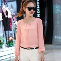 ซื้อ เสื้อเล็กๆเกาหลีเสื้อชีฟองแขนยาวหญิงฤดูร้อนวรรค สีชมพู ใหม่ล่าสุด