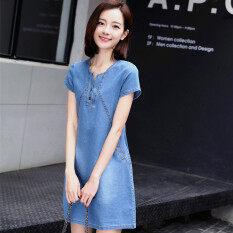 ราคา Yi Yan ชุดกระโปรงยีนส์ ใส่สบาย ไซส์ใหญ่ สไตล์เกาหลี สีอ่อน สีอ่อน Unbranded Generic เป็นต้นฉบับ